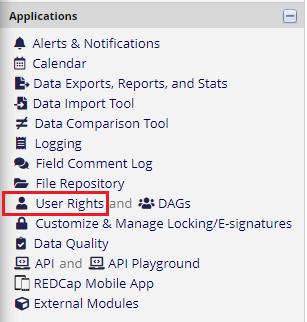 User Rights Menu