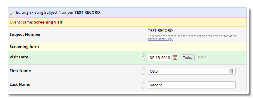 New record with values filled in automatically