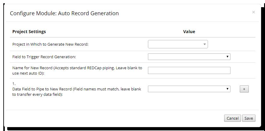 Auto Record Generation Configuration Window