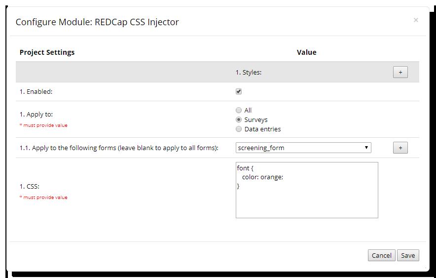 CSS Injector Configuration Window