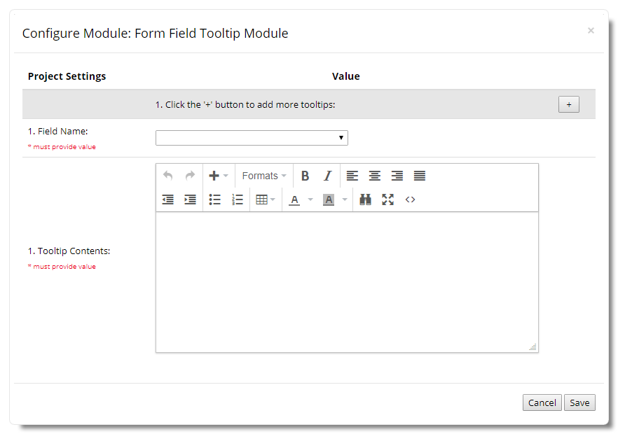 Form Field Tooltip Configuration Window