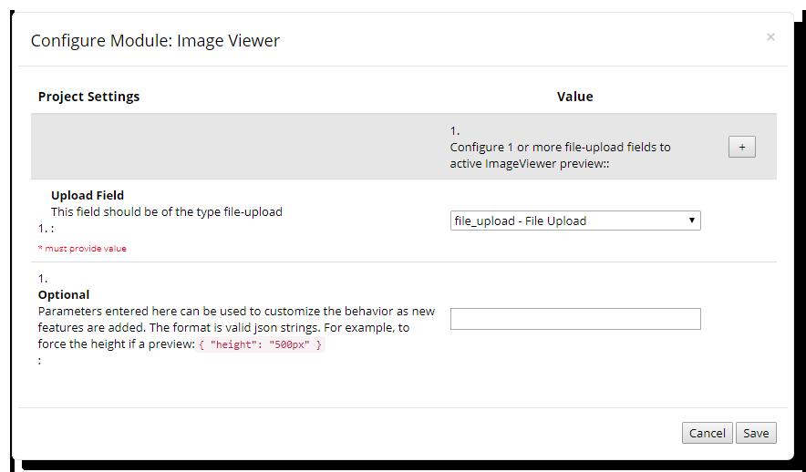 Image Viewer Configuration Window
