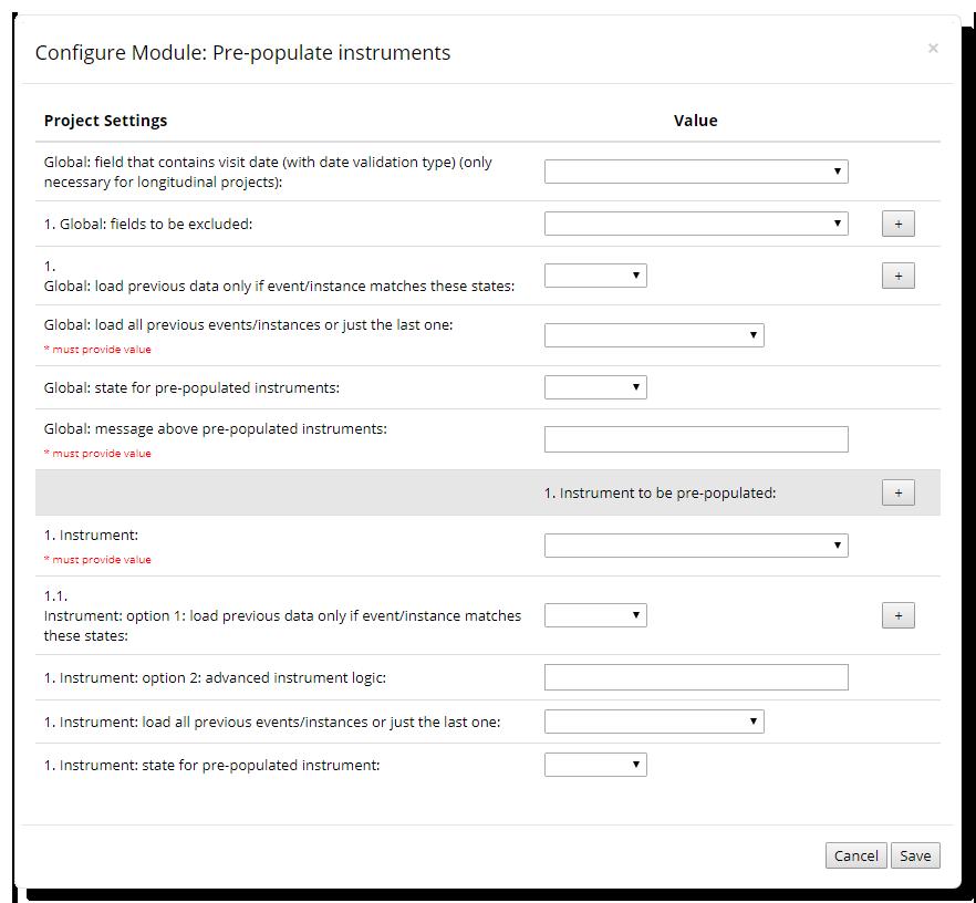 Pre-populated Instrument Module Configuration Window